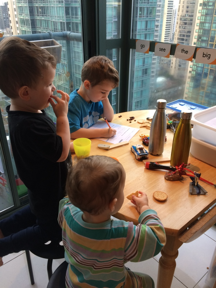 Boys homeschooling at the kitchen table