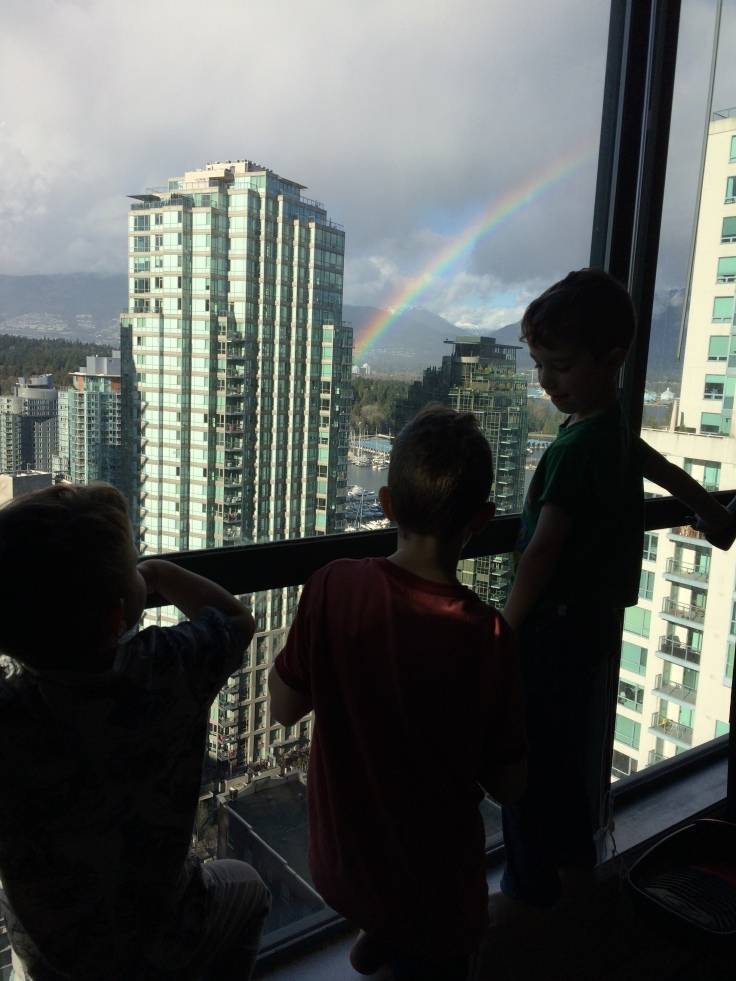 Boys taking a homeschooling break to look at a rainbow
