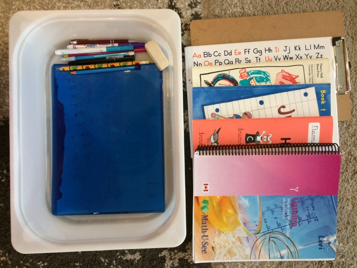 Bin organizer for homeschool supplies